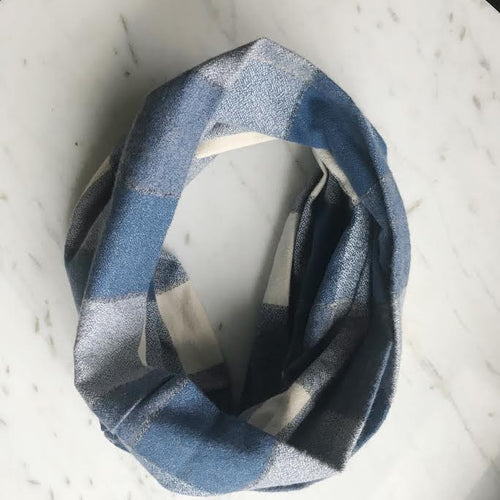 Plaid Flannel Infinity Scarf - Indigo Blue & Cream
