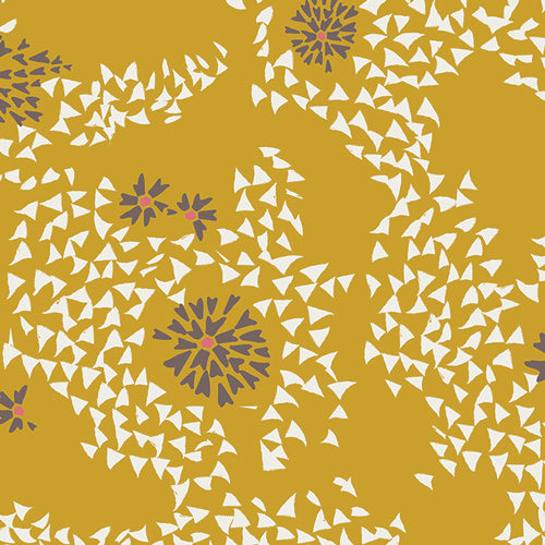 Organic Cotton Jersey Infinity Scarf - Gold Blowing Dandelion