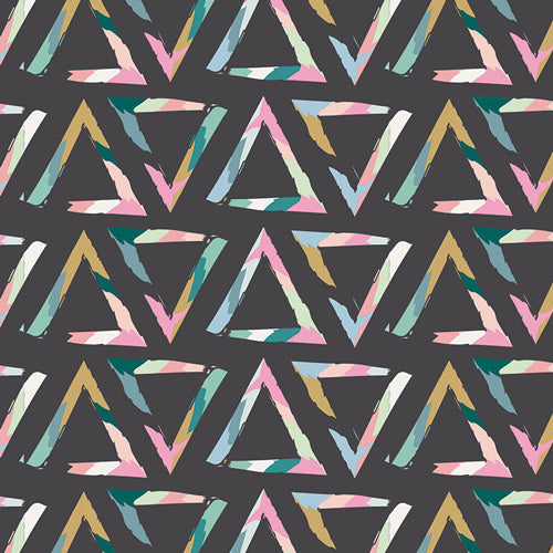 Organic Cotton Jersey Scarf - Colorful Triangle on Charcoal