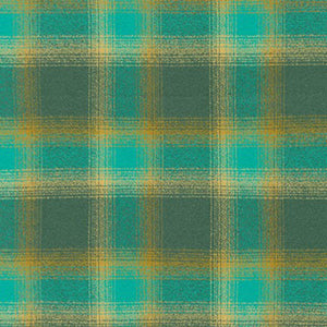 Plaid Flannel Infinity Scarf - Teal, Green & Gold