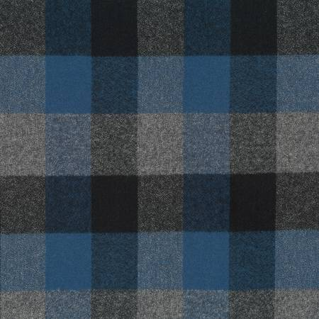 Plaid Flannel Infinity Scarf - Blue, Black & Grey