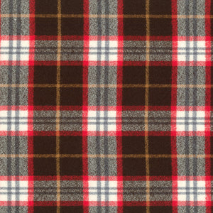 Plaid Flannel Infinity Scarf - Brown, Red & White