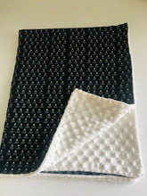 Organic Cotton & Minky Baby Blanket Black Mini Mountain