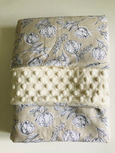 Organic Cotton Jersey & Minky Baby Blanket - Botanic Illustration