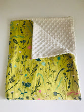 Organic Cotton & Minky Baby Blanket Chartreuse Garden