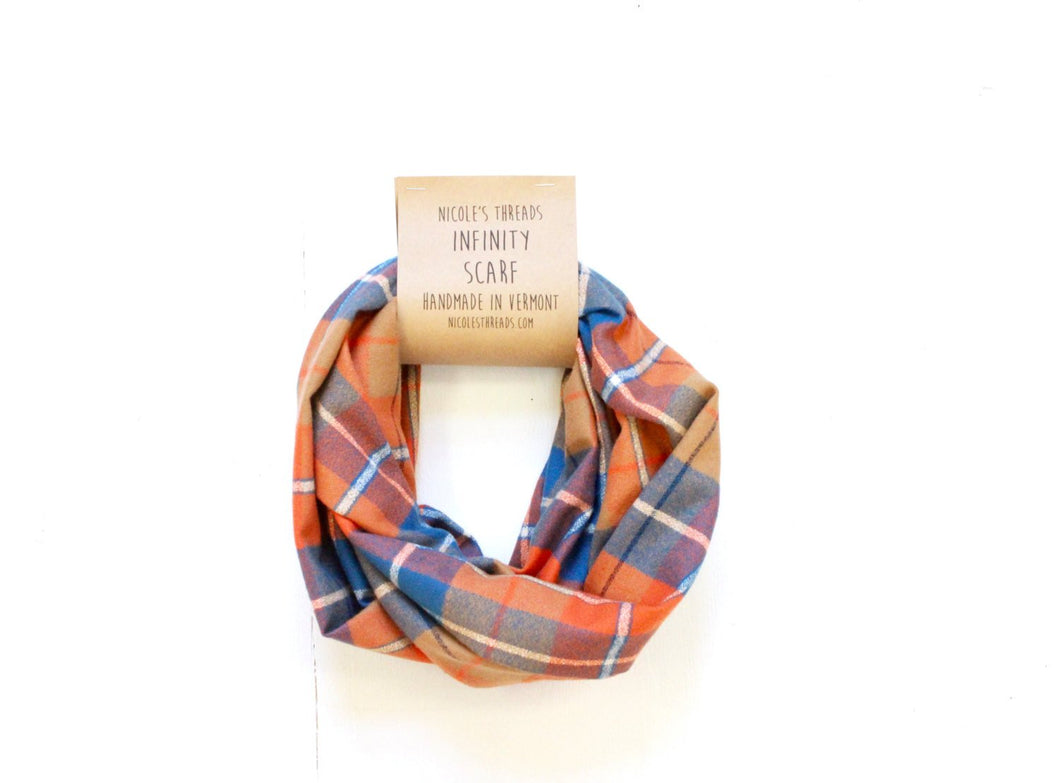 Plaid Flannel Infinity Scarf - Blue, Orange and White