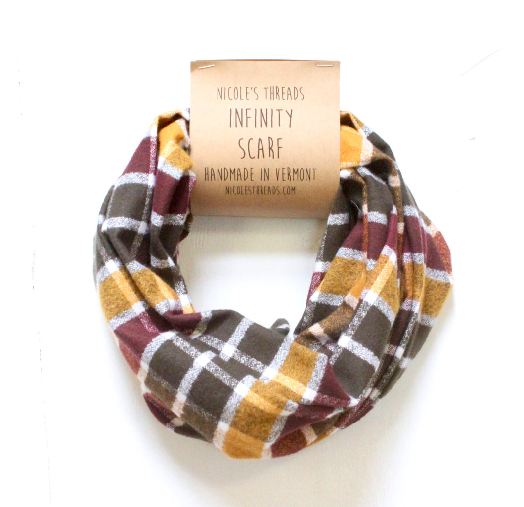Olive, Mustard, Maroon and Cream Plaid Flannel Infinity Scarf