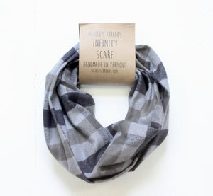 Black and Grey Buffalo Plaid Flannel Infinity Scarf