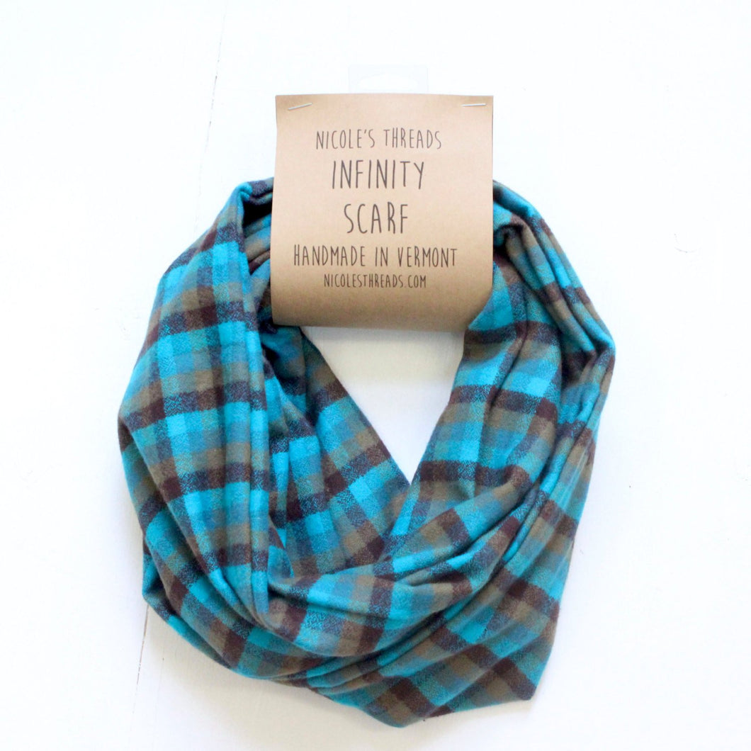 Plaid Flannel Infinity Scarf - Teal, Olive & Brown