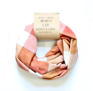 Plaid Flannel Infinity Scarf - Orange and Cream