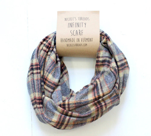 Plaid Flannel Infinity Scarf - Gray, Rust, Black & Beige Plaid