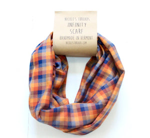 Plaid Flannel Infinity Scarf - Orange, Mustard & Blue