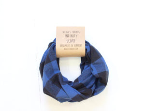 Plaid Flannel Infinity Scarf - Black and Blue Plaid