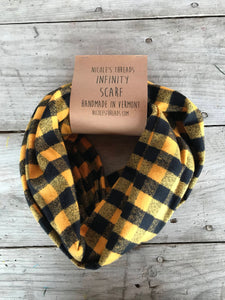 Plaid Flannel Infinity Scarf - Black and Mustard Buffalo Check