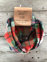 Plaid Flannel Infinity Scarf - Orange, Blue, Green & Cream