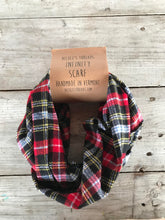 Plaid Flannel Infinity Scarf - Red and Black Small Buffalo Check