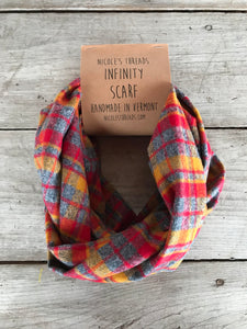 Plaid Flannel Infinity Scarf - Gray, Red & Mustard