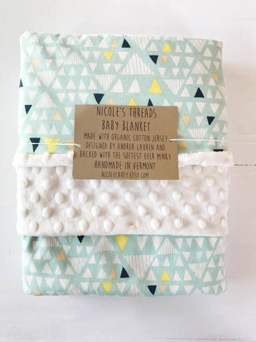 Mint Triangles Baby Blanket
