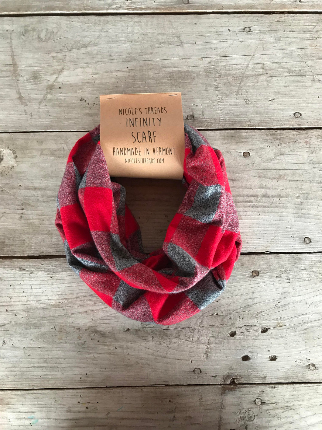 Plaid Flannel Infinity Scarf - Red and Grey Buffalo Plaid