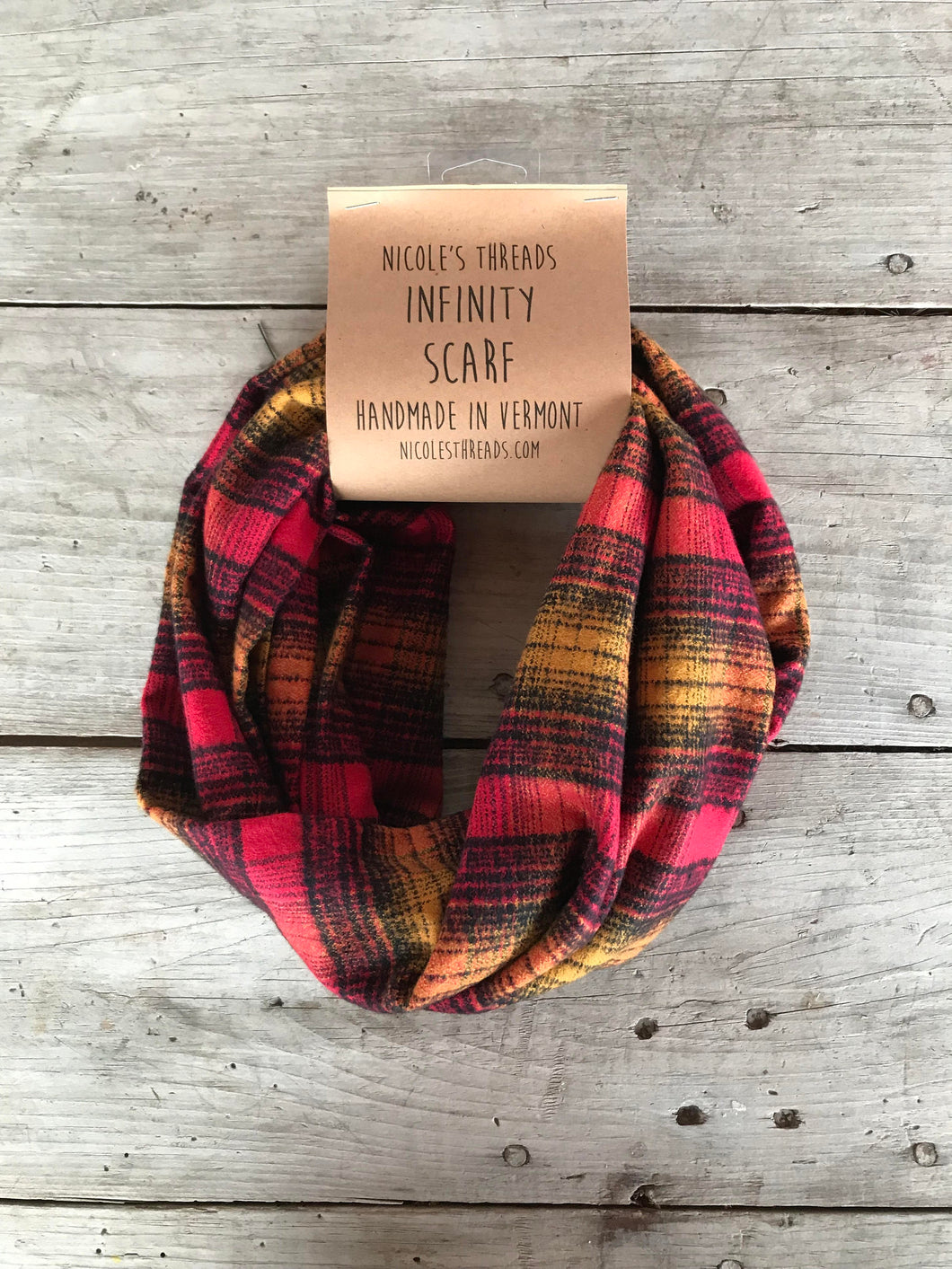 Plaid Flannel Infinity Scarf - Orange and Navy