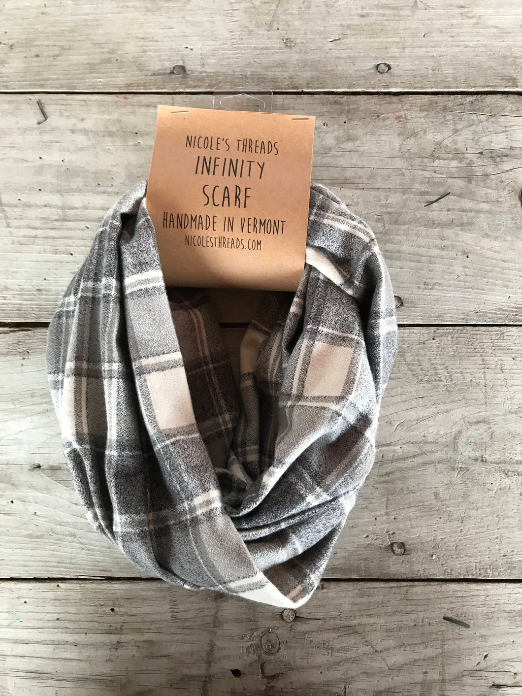 Plaid Flannel Infinity Scarf - Grey and White