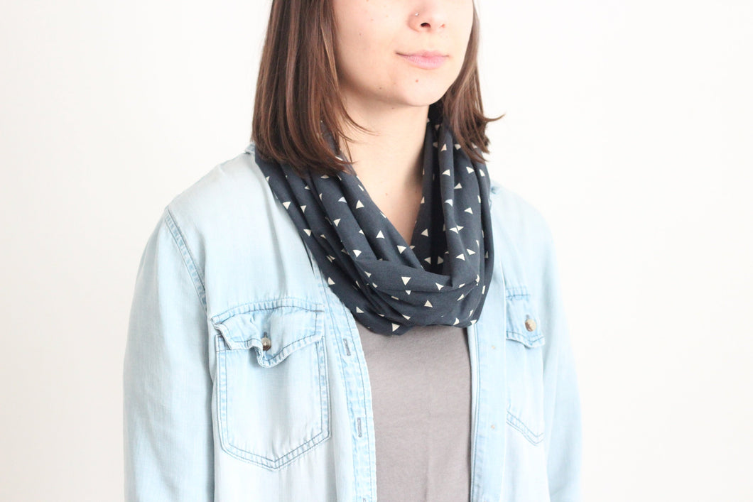 Organic Cotton Jersey Scarf - Navy Confetti Triangle