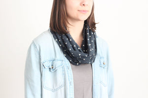 Organic Cotton Jersey Scarf - Vibrant Navy Floral