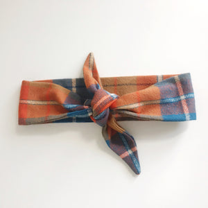 Plaid Flannel Tie Scarf Headband - Orange and Blue