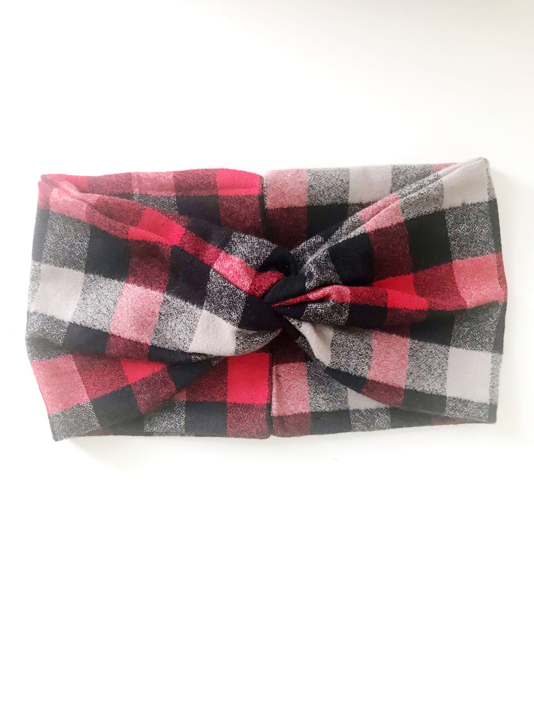 Plaid Flannel Wide Headband - Black, Red and Cream
