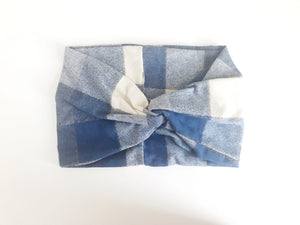 Plaid Flannel Wide Headband - Blue and Cream