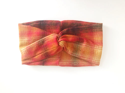 Flannel Wide Headband - Red, Gold and Black