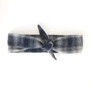Plaid Flannel  Tie Scarf Headband - Black and Grey Plaid