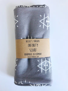 Organic Cotton Jersey Scarf - Smoke + White