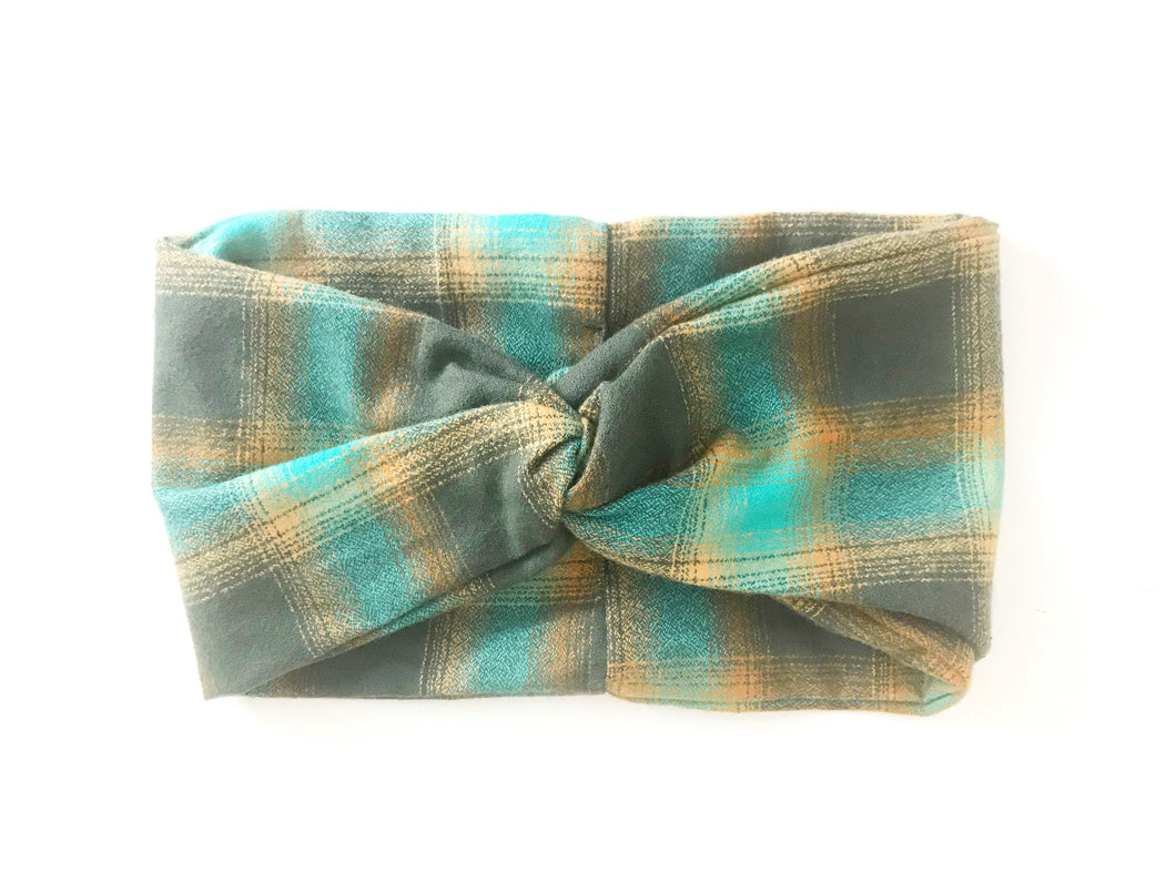 Flannel Wide Headband - Teal & Gold