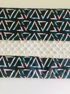 Organic Cotton & Minky Baby Blanket Pastel Triangle
