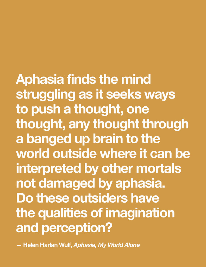 Aphasia, My World Alone - Insights into Aphasia - Therapy Insights