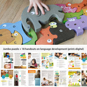 Pediatric SLP Bundle: Jumbo Animal Alphabet Puzzle + Language Handouts Bundle