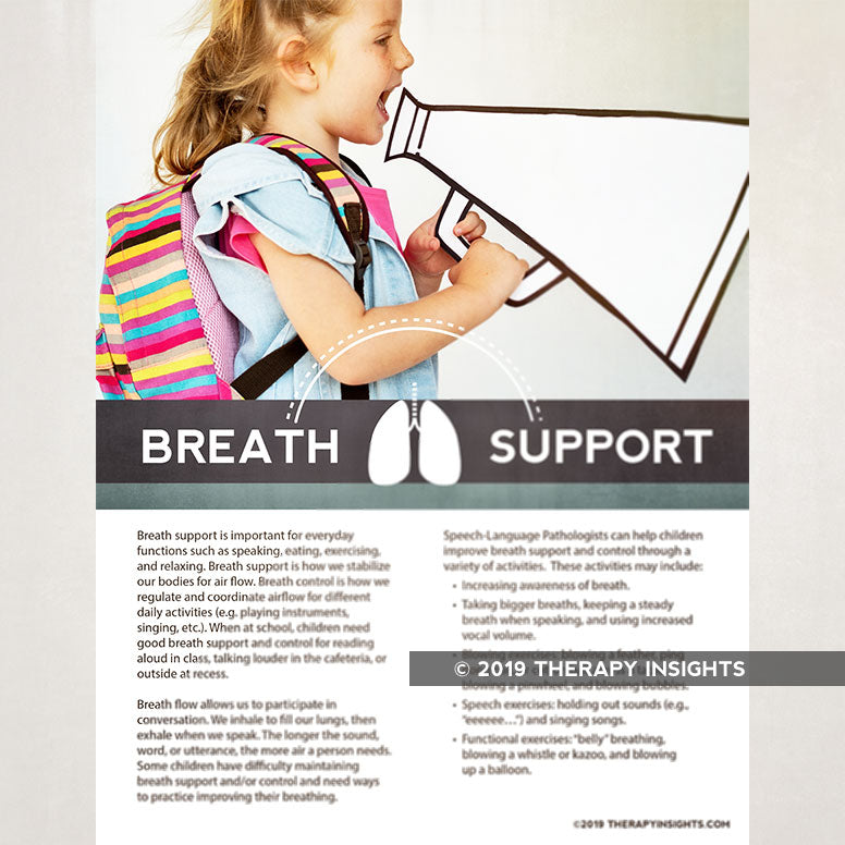 Breath support treatment in speech therapy. Breath support in children. Pediatric speech therapy handouts and materials. Therapy Fix. Therapy Insights.