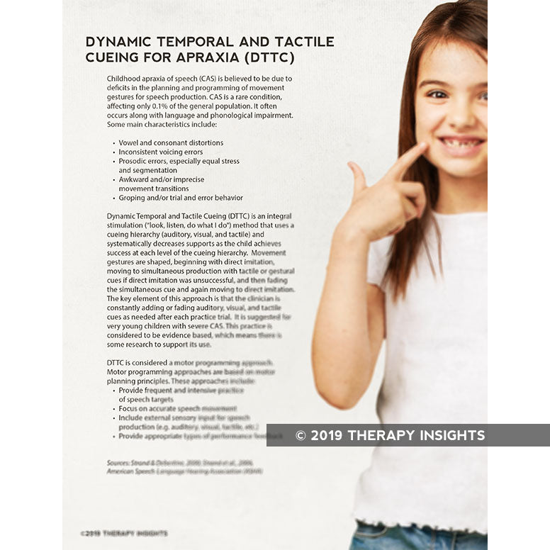 Dynamic Temporal and Tactile Cueing for Apraxia - speech therapy materials for kids - pediatric speech therapy - speech therapy handouts for parents - Therapy Insights - Therapy Fix
