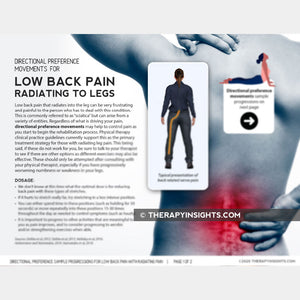 Directional Preference Sample Progressions for Low Back Pain with Radiating Pain