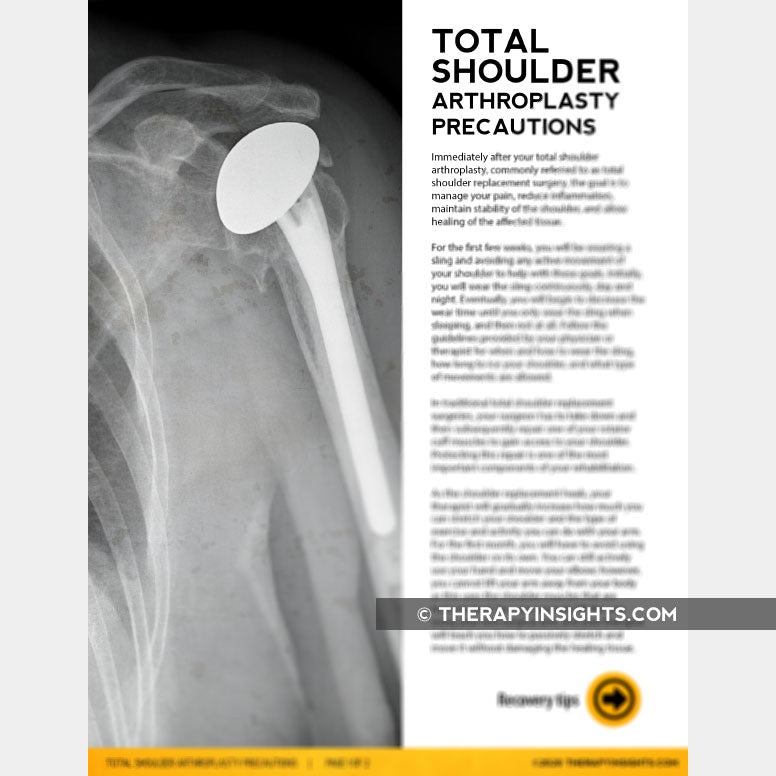Handout: Managing Total Shoulder Arthroplasty Precautions