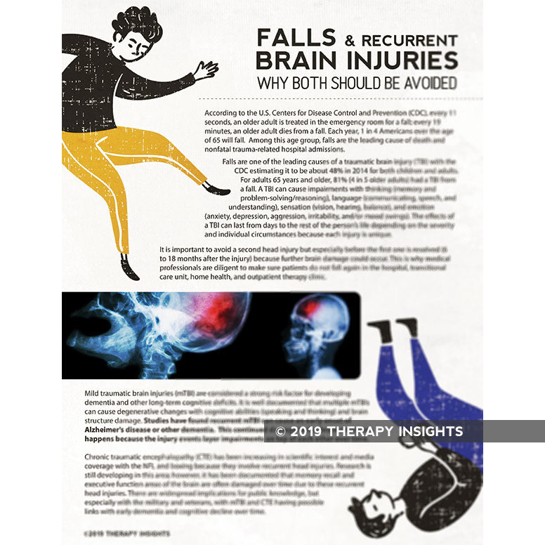 Falls and recurrent brain injuries- why both should be avoided - speech therapy materials for adults - adult rehabilitation materials - SNF materials - acute care handouts - Therapy Insights - Therapy Fix