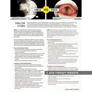 MBSS vs FEES swallow study handout - speech therapy materials for adults in rehabiliation or medical settings - Therapy Insights - Therapy Fix