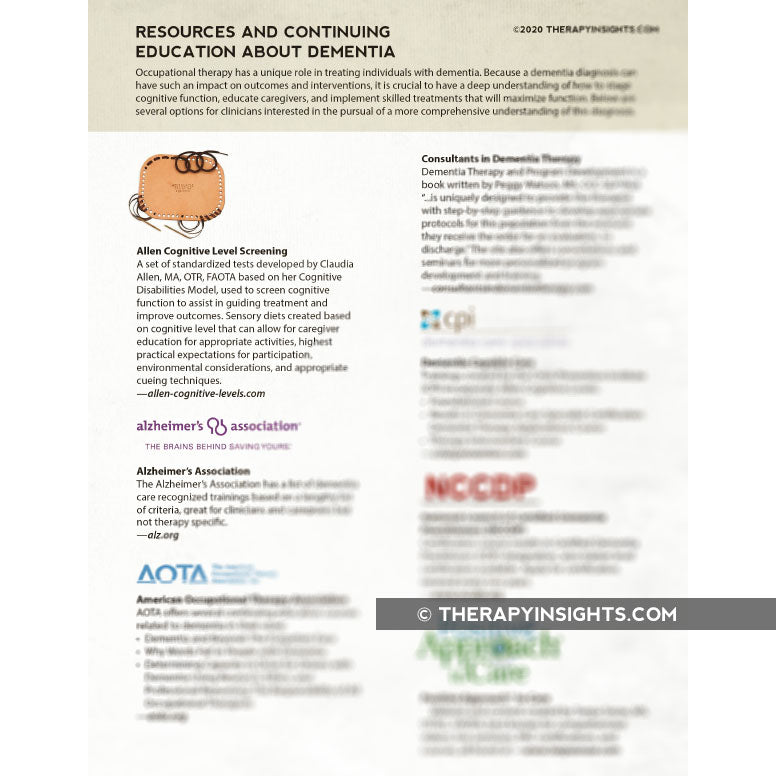 Dementia Resources for Occupational Therapy