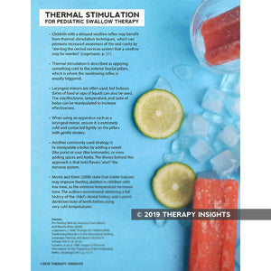 Thermal stimulation for pediatric swallow therapy - speech therapy materials for pediatrics - clinical pediatric speech therapy materials - Therapy Insights - Therapy Fix