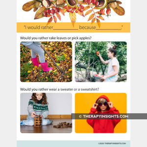 """Would You Rather"" Activity with Fall Theme"