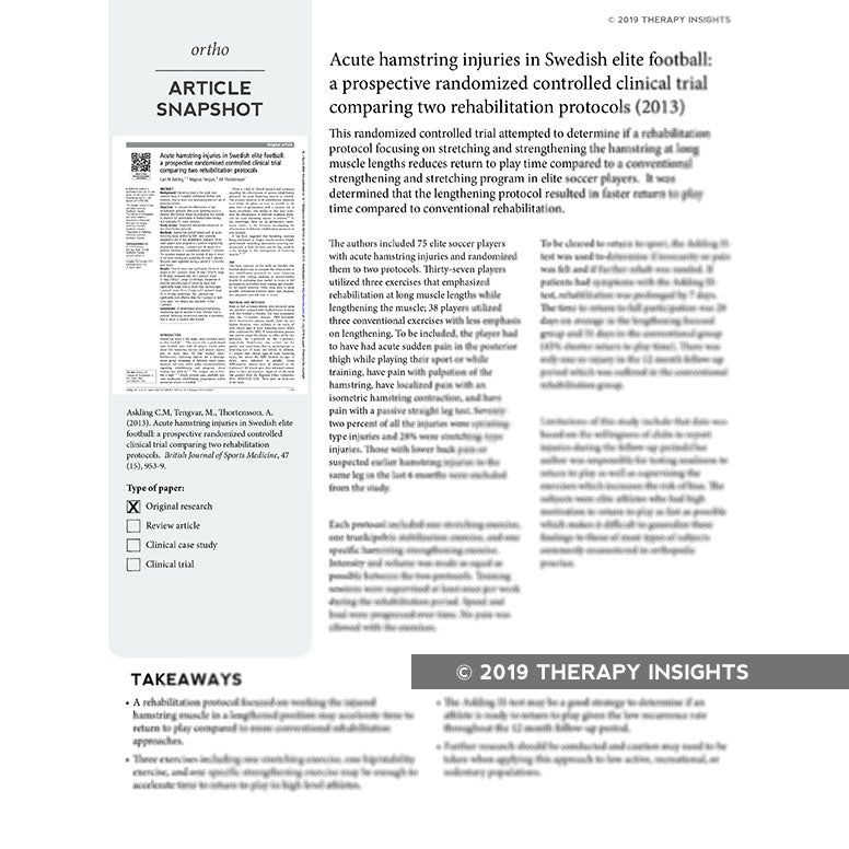 Article snapshots - Therapy Insights - Therapy Fix - stay up to date with the latest research with a subscription box designed for rehabilitation therapists