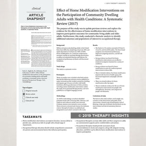 Article snapshot for occupational therapists. Therapy Fix. Therapy Insights.