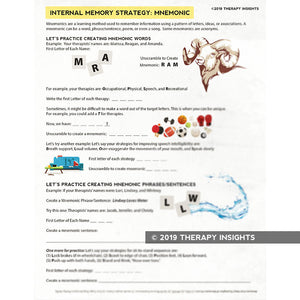 Mnemonic memory strategy - rehabilitation materials for adults - SLP - OT - PT - Therapy Insights - Therapy Fix