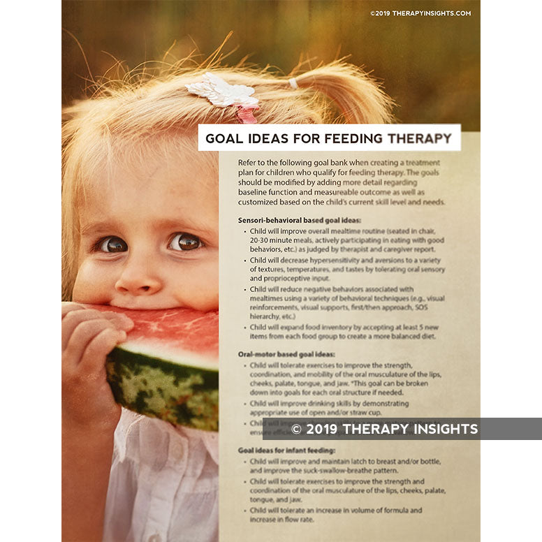 Goal ideas for pediatric feeding therapy - Pediatric speech therapy - SLP - Therapy Insights - Therapy Fix